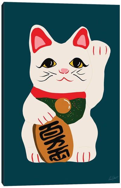 Waving Cat Canvas Art Print