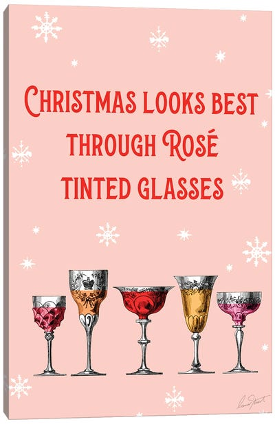 Christmas Looks Best Through Rosé Tinted Glasses Canvas Art Print