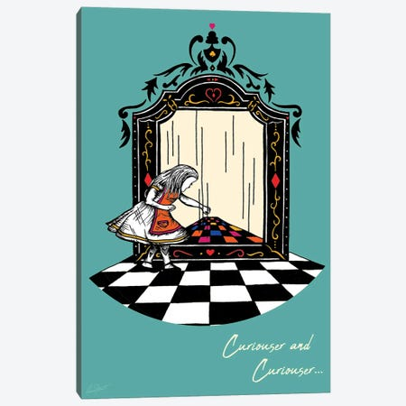 Alice and the Looking Glass Colour Canvas Print #EOR6} by Eleanor Stuart Canvas Art
