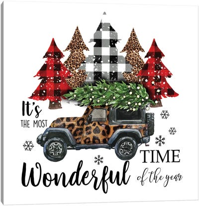 Christmas Jeep With Trees. Leopard Print Canvas Art Print