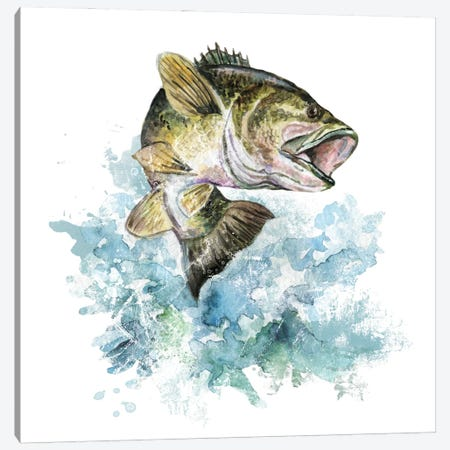 Bass Fishing Canvas Print #EPG10} by Ephrazy Graphics Canvas Artwork
