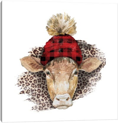 Cow Head Christmas II Canvas Art Print