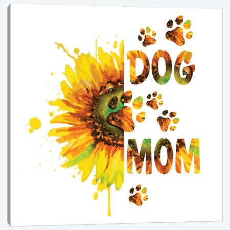 Sunflower Dog Mom Canvas Print #EPG17} by Ephrazy Graphics Art Print