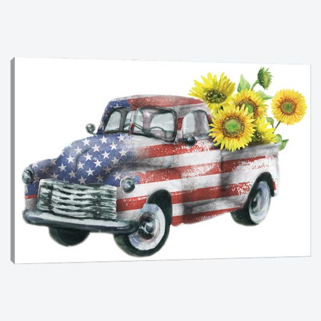 4Th Of July Truck With Sunflowers Canvas Print #EPG1} by Ephrazy Graphics Canvas Art