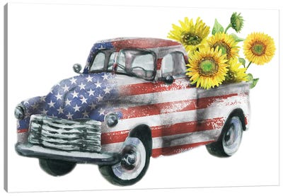 4Th Of July Truck With Sunflowers Canvas Art Print