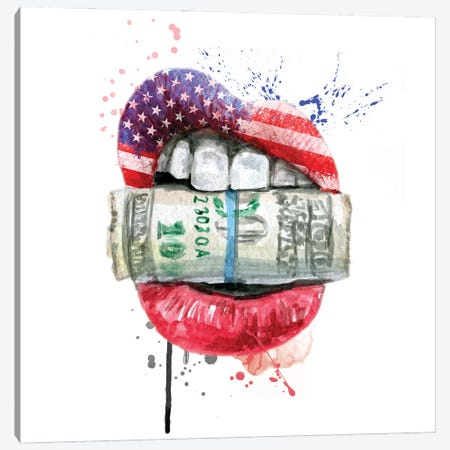 American Flag Lips With Dollars Canvas Print #EPG29} by Ephrazy Graphics Canvas Art Print