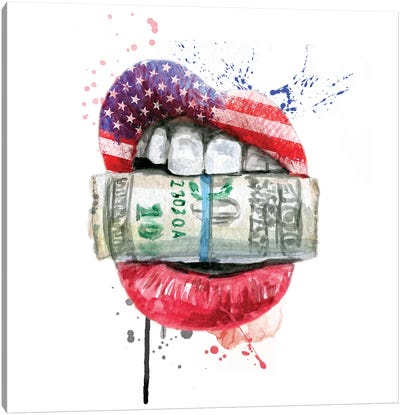 American Flag Lips With Dollars Canvas Art Print