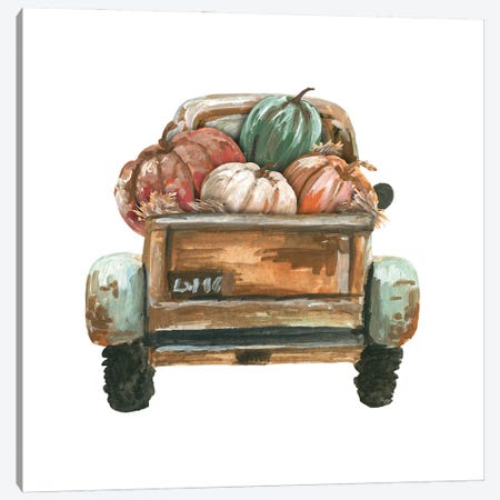 Fall Turquoise Truck Back With Pumpkins Canvas Print #EPG30} by Ephrazy Graphics Canvas Artwork