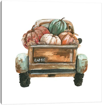 Fall Turquoise Truck Back With Pumpkins Canvas Art Print