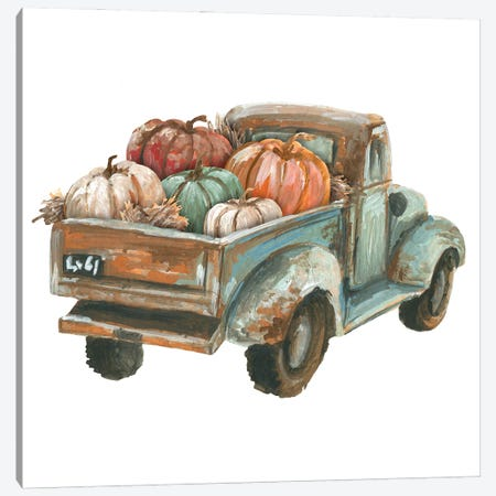 Fall Turquoise Truck With Pumpkins Canvas Print #EPG31} by Ephrazy Graphics Canvas Wall Art