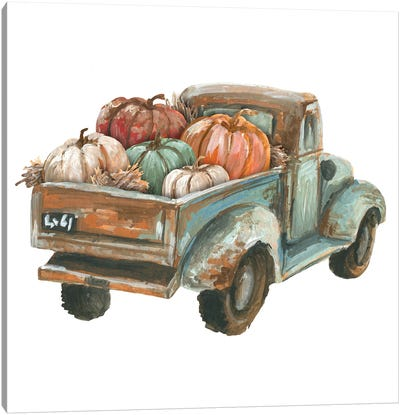 Fall Turquoise Truck With Pumpkins Canvas Art Print