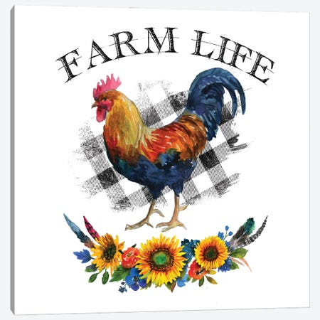 Farm Life Rooster Canvas Print #EPG32} by Ephrazy Graphics Canvas Wall Art