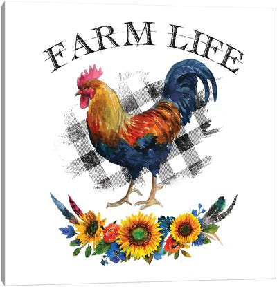 Farm Life Rooster Canvas Art Print
