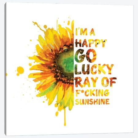 Sunflower. I'M Happy Go Lucky Canvas Print #EPG39} by Ephrazy Graphics Canvas Art