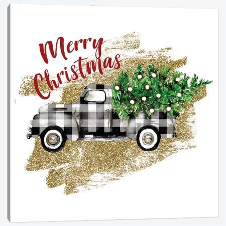 White Plaid Christmas Trcuk Canvas Print #EPG40} by Ephrazy Graphics Canvas Print