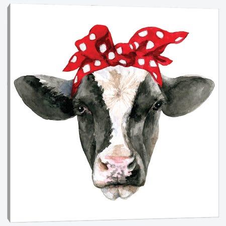 Cow Head With Headband Canvas Print #EPG42} by Ephrazy Graphics Canvas Art Print
