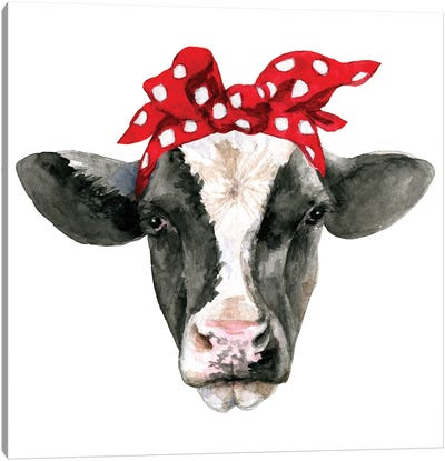Cow Head With Headband Canvas Art Print