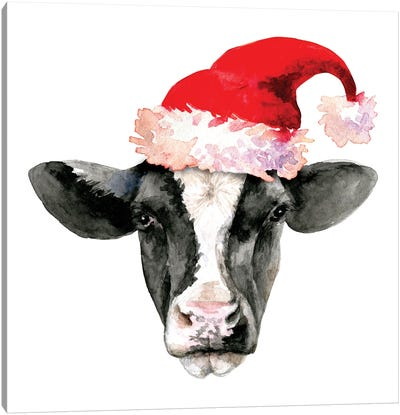 Cow Head. Christmas Canvas Art Print