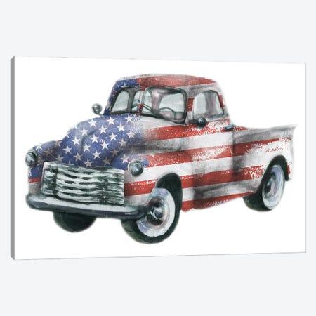 Usa Flag Truck Canvas Print #EPG45} by Ephrazy Graphics Canvas Artwork