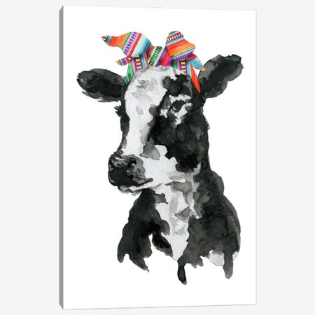Black White Cow With Serape Headband Canvas Print #EPG46} by Ephrazy Graphics Canvas Wall Art