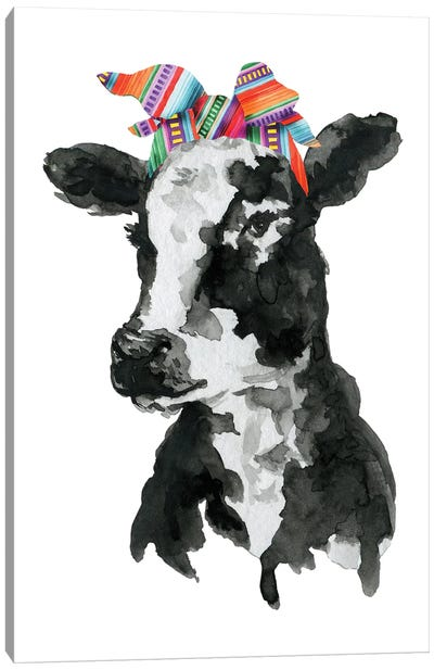 Black White Cow With Serape Headband Canvas Art Print