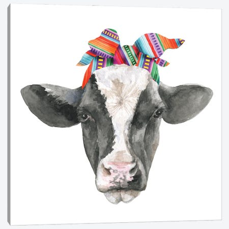 Black White Cow Head With Serabe Headband Canvas Print #EPG47} by Ephrazy Graphics Canvas Artwork