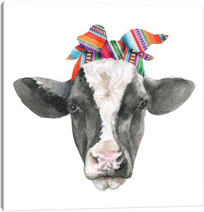Black White Cow Head With Serabe Headband Canvas Art Print