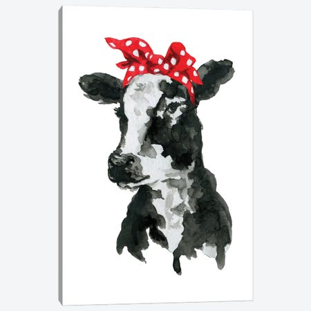 Black White Cow With Headband Canvas Print #EPG48} by Ephrazy Graphics Canvas Print