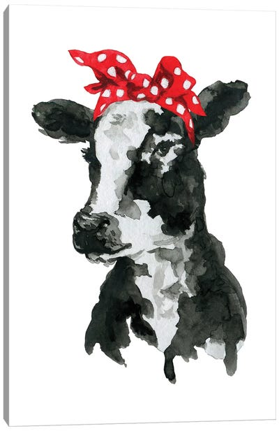 Black White Cow With Headband Canvas Art Print