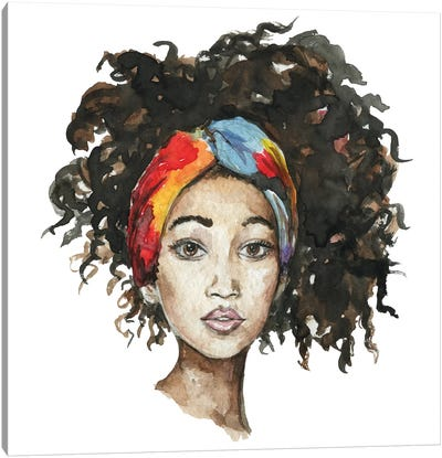 Afro Girl With Headband Canvas Art Print