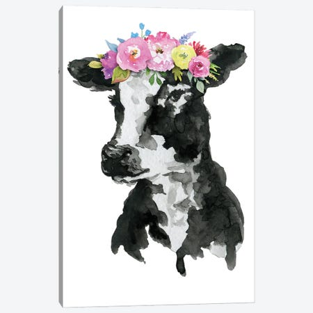 Black White Cow With Flowers Canvas Print #EPG52} by Ephrazy Graphics Canvas Wall Art
