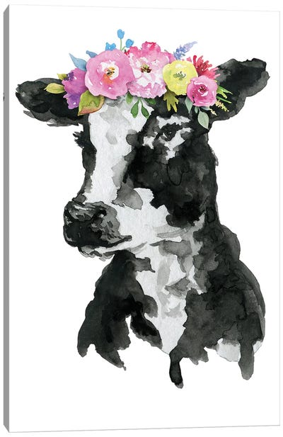 Black White Cow With Flowers Canvas Art Print