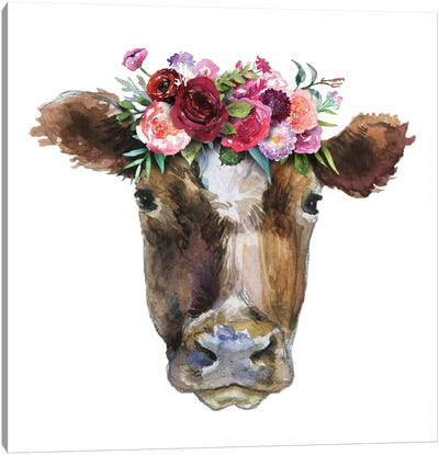 Brown Cow Head With Flowers Canvas Art Print