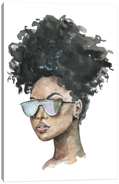 Afro Girl With Sunglasses Canvas Art Print