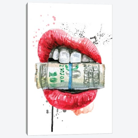 Red Watercolor Lips With Dollars Canvas Print #EPG61} by Ephrazy Graphics Art Print