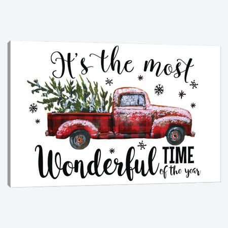 Christmas Plaid Truck. It'S The Most Wonderful Time Canvas Print #EPG65} by Ephrazy Graphics Canvas Artwork