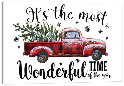 Christmas Plaid Truck. It'S The Most Wonderful Time Canvas Art Print