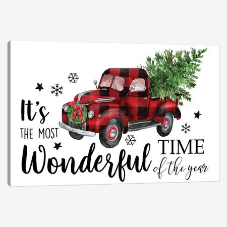 Red Plaid Christmas Truck Canvas Print #EPG67} by Ephrazy Graphics Canvas Art
