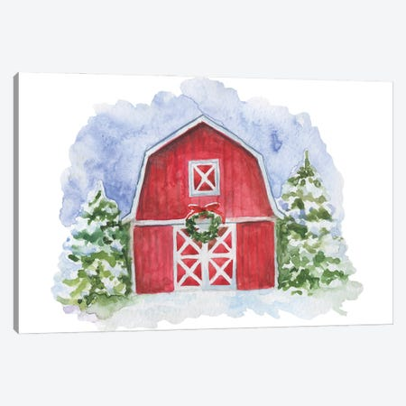 Christmas. Red Barn Canvas Print #EPG73} by Ephrazy Graphics Canvas Wall Art