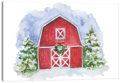 Christmas. Red Barn Canvas Art Print