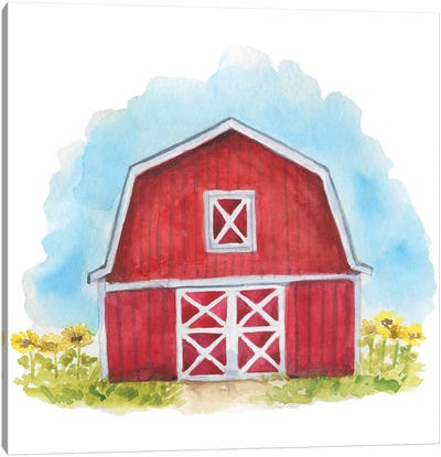 Farm. Red Barn Canvas Art Print