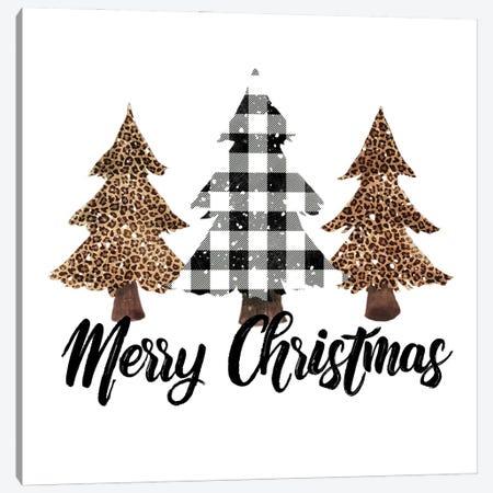 White Plaid Leopard Christmas Tree Canvas Print #EPG77} by Ephrazy Graphics Art Print