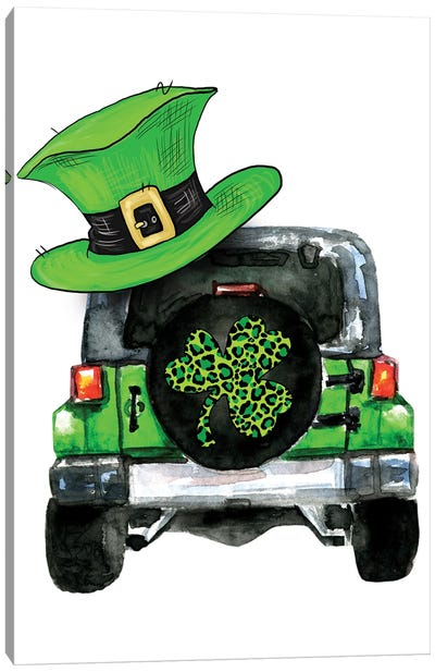 St. Patrick Day Jeep Canvas Art Print