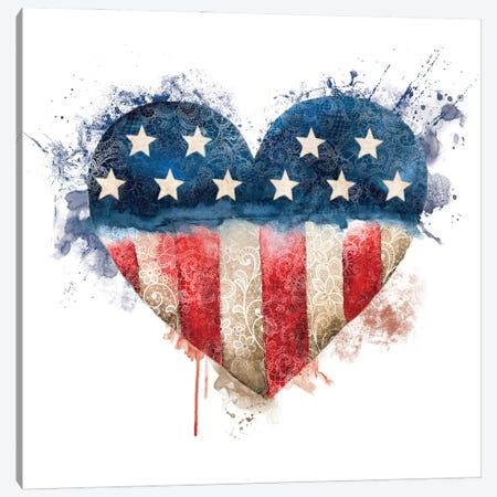 Usa Flag Lace Heart Canvas Print #EPG7} by Ephrazy Graphics Canvas Art Print