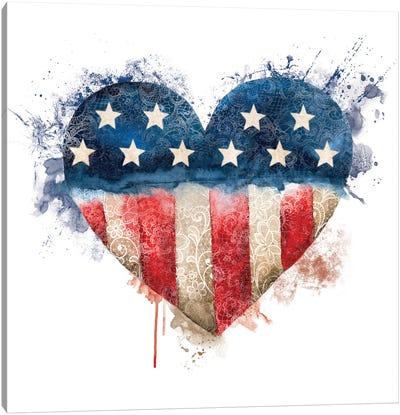 Usa Flag Lace Heart Canvas Art Print
