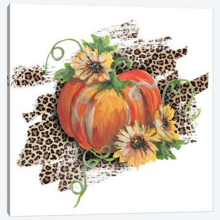 Pumpkin With Sunflowers Leopard Print Canvas Print #EPG84} by Ephrazy Graphics Canvas Art
