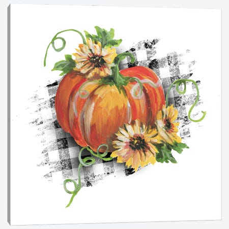 Pumpkin With Sunflowers White Plaid Print Canvas Print #EPG85} by Ephrazy Graphics Canvas Wall Art