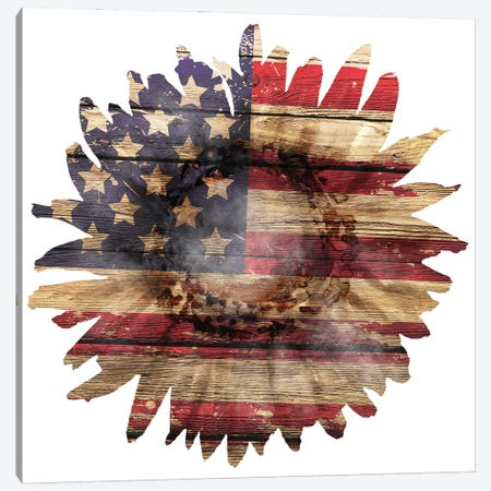 American Flag Sunflower Canvas Print #EPG88} by Ephrazy Graphics Art Print