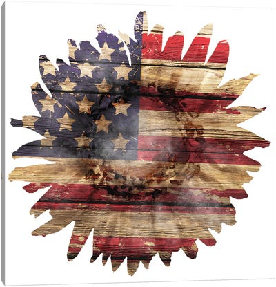 American Flag Sunflower Canvas Art Print