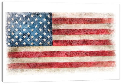 USA Flag Lace Canvas Art Print